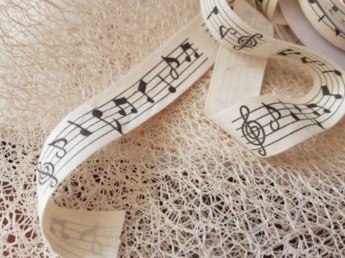 Bertie/'s Bows MUSIC NOTE Printed Natural cut edge Linen ribbon 20mm