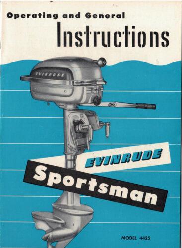 Nouveau 1950 S EVINRUDE Sportsman modèle 4425 moteur hors-bord owner/'S MANUAL NOS