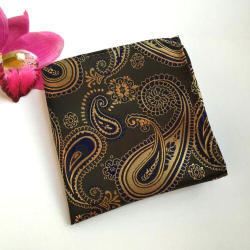 Men Black Orange Paisley Necktie Pocket Square Handkerchief Tie Set Lot HZBWT091