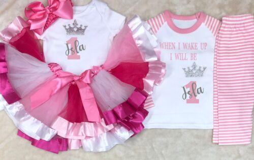 My 1st 2nd 3rd 4th Birthday princess baby outfit With Pyjamas Set Cake Smash