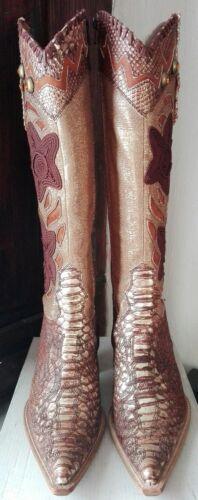 Pelle Tessuto E Bronzo In Marrone Stivali Donna BwIfEE