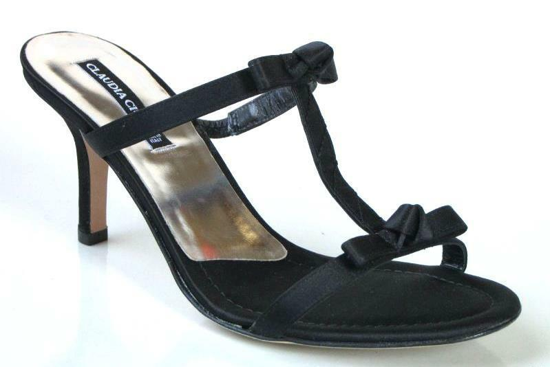 New CLAUDIA CIUTI  Halima  black satin BOW T-strap mules heels shoes ITALY  SEXY