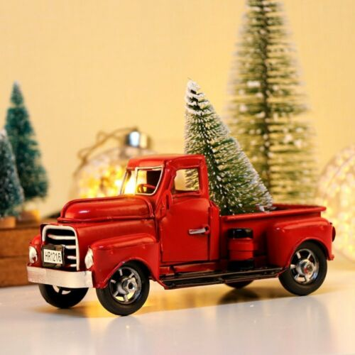 Christmas Vintage Red Metal Truck Ornament Kids Xmas Gifts Toy Table Decor