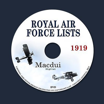 Royal Air Force Lists 1919 Vintage e-Books Collection 11 PDF on 1 DVD WW1  World 728266174531 | eBay