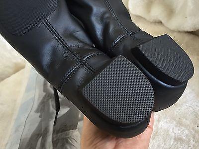 Capezio Niñas Danza Zapato De Cuero Negro Tamaño G9 Split De Goma