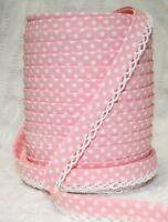 3m 12mm Baby Pink Polka Dot Bias Binding with White Picot Lace Edge, Trim