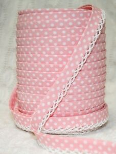 3m-12mm-Baby-Pink-Polka-Dot-Bias-Binding-with-White-Picot-Lace-Edge-Trim