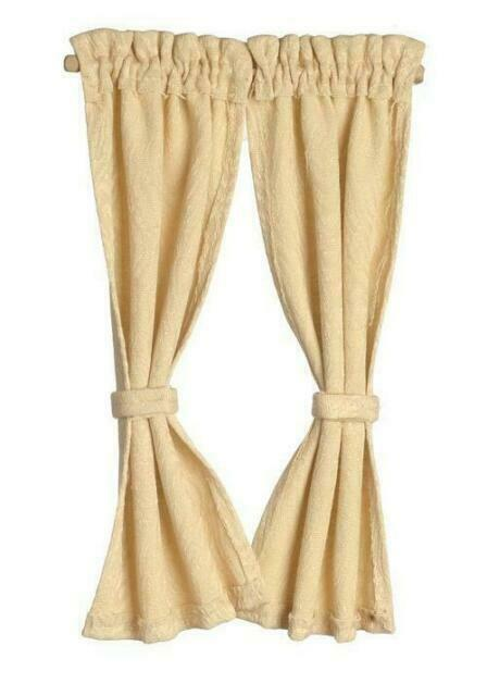Melody Jane Dollhouse Red Cream Gingham Curtains Tied Back on Rail 1:12 Window Accessory