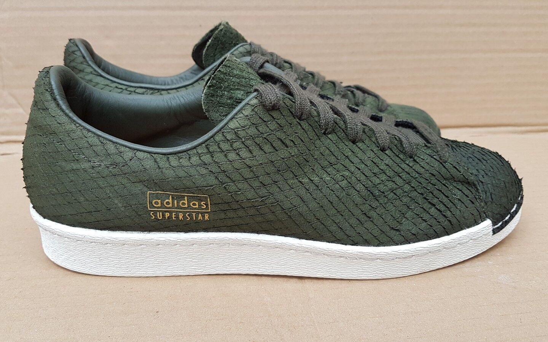 ** RARA ** Adidas Superstar entrenadores verde piel de de piel reptil Logotipo De Oro Reino Unido 9fed25