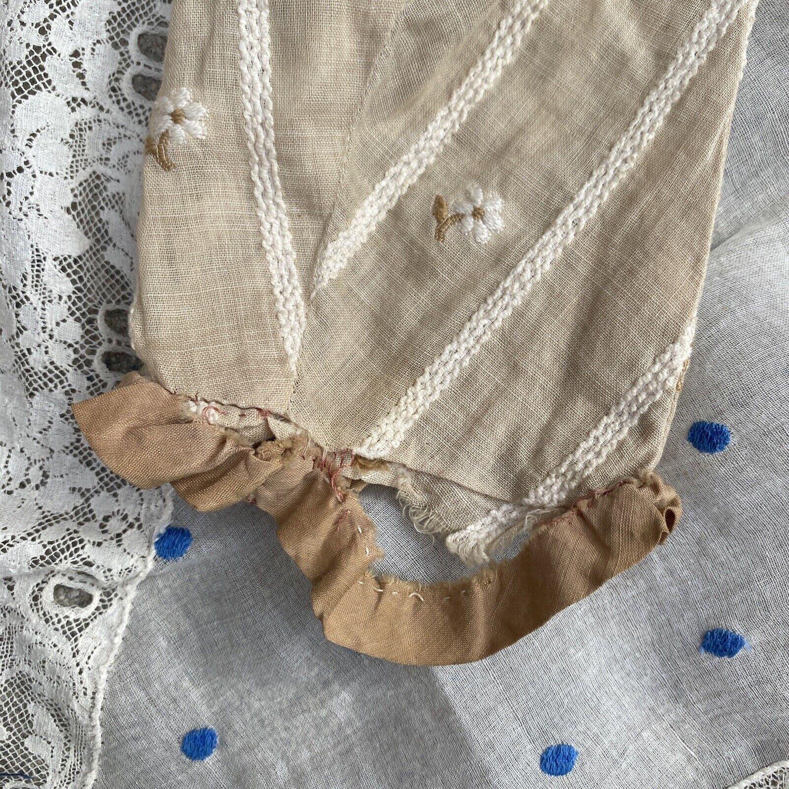Antique Edwardian Ecru Cotton Blouse Top Embroide… - image 6