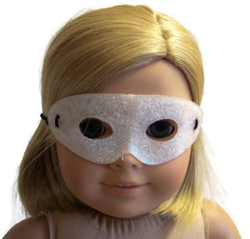 "Pearl White Glitter Halloween Mask made for 18/"" American Girl Doll Clothes"