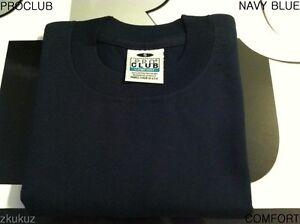5b2120a5 1 NEW PROCLUB COMFORT PLAIN T-SHIRT BLANK NAVY BLUE TEE PRO CLUB S ...