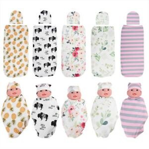 Soft-Newborn-Baby-Cotton-Swaddle-Blanket-Sleeping-Wrap-Swaddle-Bag-Hat-2pcs-Set