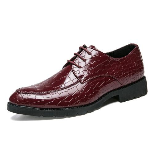 Herrenschuhe Formell 38-44 Kroko-Prägung Oxford Ledern Abend Business-Schuhe Neu