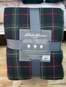 Eddie-Bauer-FULL-QUEEN-Mountain-Pine-Plaid-Flannel-Sherpa-Blanket-Red-Blue-Black