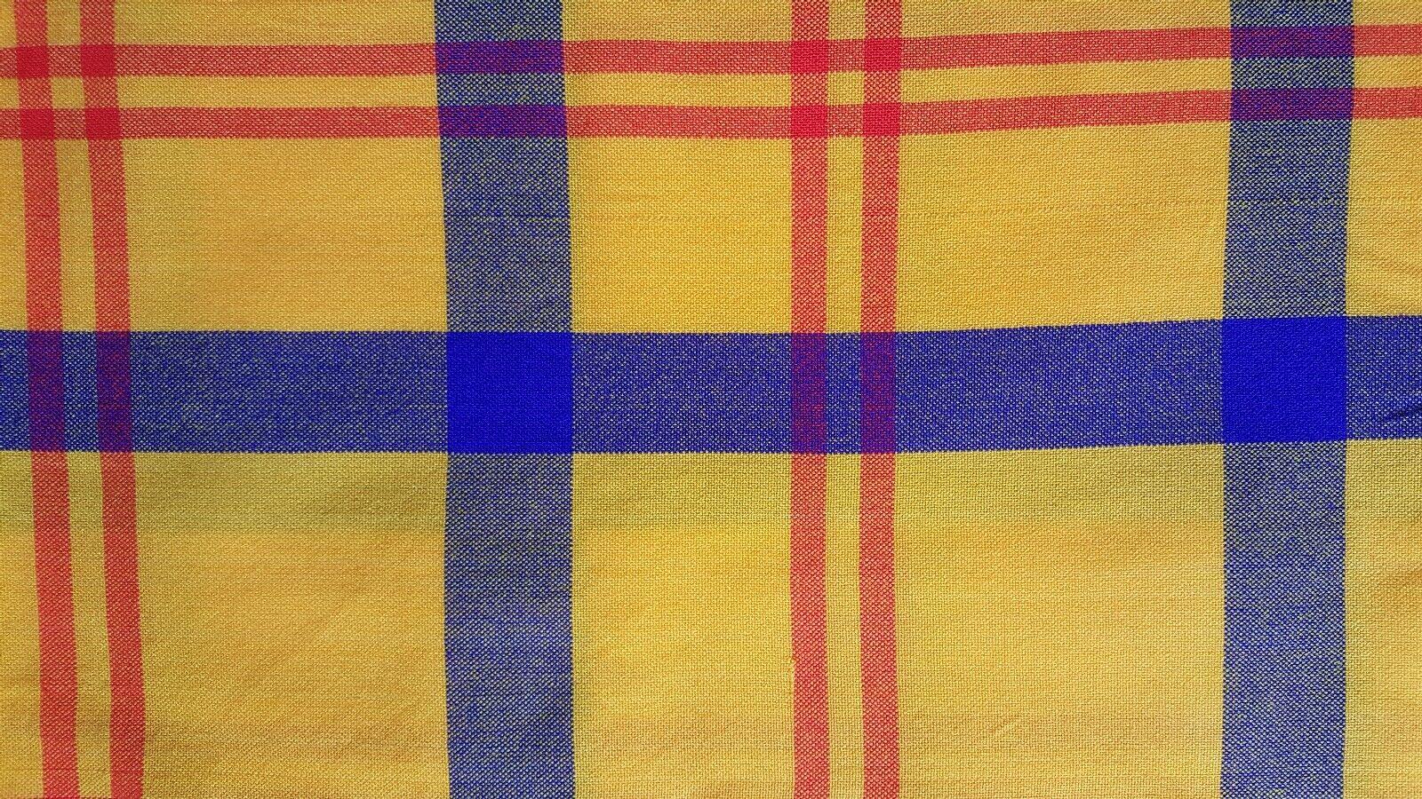 African Masai Maasai Tribal Shuka Throw Blanket Wrap Yellow