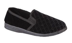 Zedzzz KEVIN Textile Twin Fuelle Interior Zapatillas Completo UK6 -16 Tamaño Grande Negro ve