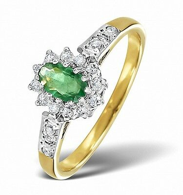 Humor Emerald And Diamond Ring Yellow Gold Engagement Size F-z Appraisal Certificate