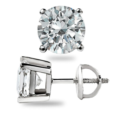 1.60 CT Brillant Rond Cut Boucles d/'oreille Lab diamant Vis Retour 14k Or Blanc