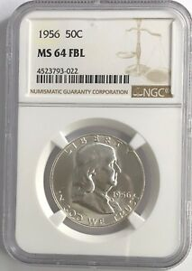 1956-P-NGC-MS64-FBL-FRANKLIN-HALF-DOLLAR-WHITE-COINS-90-SILVER-FULL-BELLS-LINE