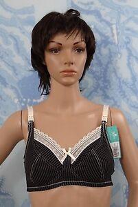 Royce Lingerie Black Cream Stripe Lauren Wire-Free Lined Nursing Bra ... 3a0356157