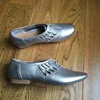 Clarks Silver Shoes Real Leather Size Uk 7 / Eu 41 Active Air Laced