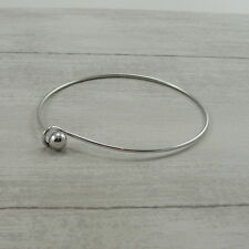 Silver Plated Charm Bangle - Silver Add a Bead Bracelet Ball End Bangle NEW