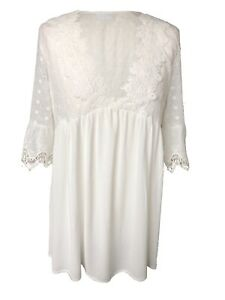 Off-White-Boho-Peasant-Gypsy-Romantic-Lace-Tunic-Empire-Long-Blouse-Shirt-Top