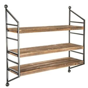 Details About Wood Tri Wall Shelf Hanging Display Home Living Room Bookshelves Metal Sides