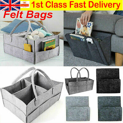 UK Felt Infant Baby Diaper Storage Nappy Nursery Organizer Basket Caddy Wipe Bag