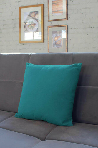 Azul Blue Encasa Solid Dyed Cotton Square Cushion Cover 24 x 24 Inch
