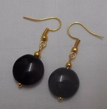 Unique handmade black onyx earrings gold plated round beads free stoppers