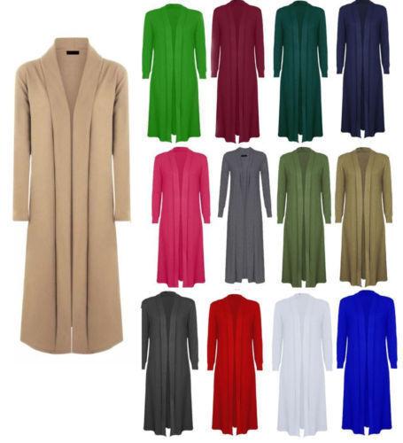 LADIES LONG SLEEVE OPEN FRONT FLOATY LONG MAXI CARDIGAN WOMENS COAT JACKET 8-16