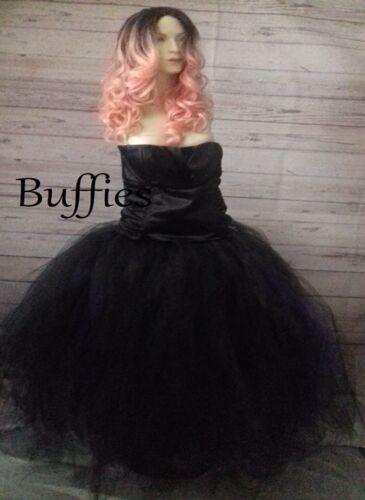 Long Tutu Noir Violet Rouge Tulle Jupe robe Net Sorcière Diablesse Gothique Mariage plus S