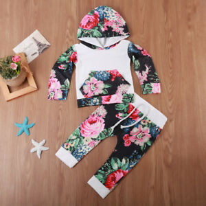 Cute Newborn Baby Girl Boy Floral Hoodie Tops Pants Outfits Set Clothes US Stock