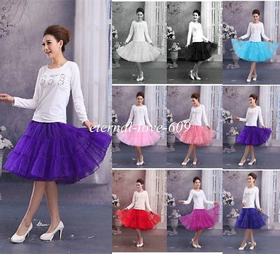 New Tea Lengtht Swing Vintage Prom Petticoat Crinoline Underskirt Skirt TUTU