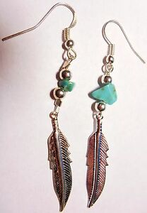 Navajo-Silver-inch-Feather-Earrings-amp-Turquoise-nugget-by-Roseanne-Manygoats