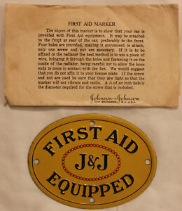 Details about Original 1920s Johnson & Johnson First Aid Equipped Auto Sign