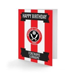 Sheffield United F.c - Personnalisé Carte De Vœux (crest)-afficher Le Titre D'origine Peut êTre à Plusieurs Reprises Replié.