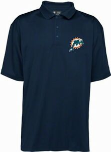 Miami dolphins nfl team apparel dri fit polo golf shirt for Embroidered polo shirts miami
