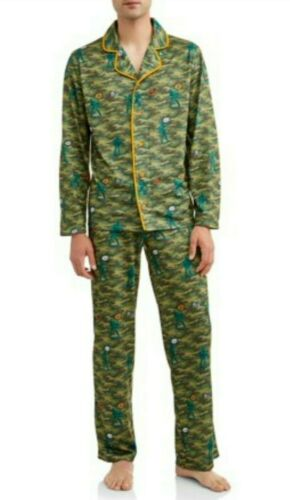 Owl Night Long Mens Pajama Lounge Set Size XL 2XL Camo Army Green Soldier NWT