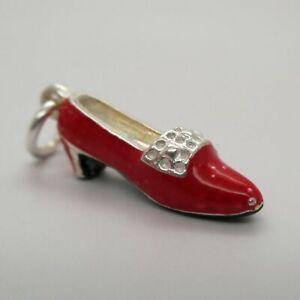 Vintage-STERLING-SILVER-Enamel-RUBY-SLIPPER-Charm-for-Bracelet-PENDANT-Cute-OZ