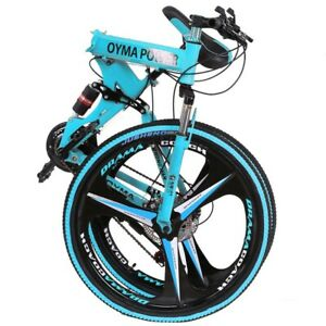 "Eurobike 26"" Folding Mountain Bike Shimano 21 Speed Full Suspension Bicycle Blu"