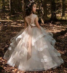 6ceeba1efce79 Details about Vintage Flower Girl Dresses For Weddings Blush Pink Sash  Custom Made Princess