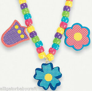 Image Is Loading Flower Charm Necklace Craft Kit For Kids Girls