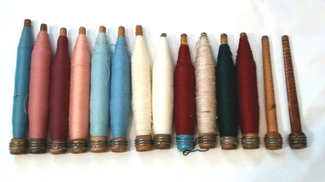 Antique Wood Textile Mill Industrial Spinning Thread Spools Bobbins Lot