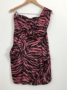 SHEIKE-Womens-Pink-Black-One-Shoulder-Lined-Pockets-Short-Cocktail-Dress-Size-12