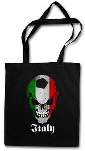 ITALY FOOTBALL SOCCER SKULL FLAG STOFFTASCHE Fan Hooligan Italien Fußball