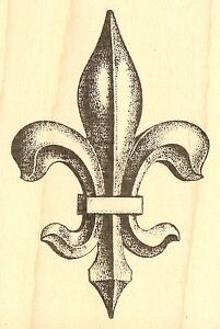 Image Is Loading Stone Fleur De Lis Wood Mounted Rubber Stamp