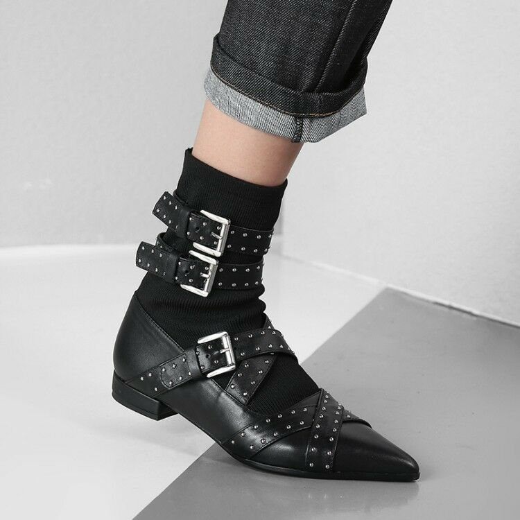 Womens Leather Studs Buckle Straps Elasticated Low Heel Ankle Boots shoes mgmq